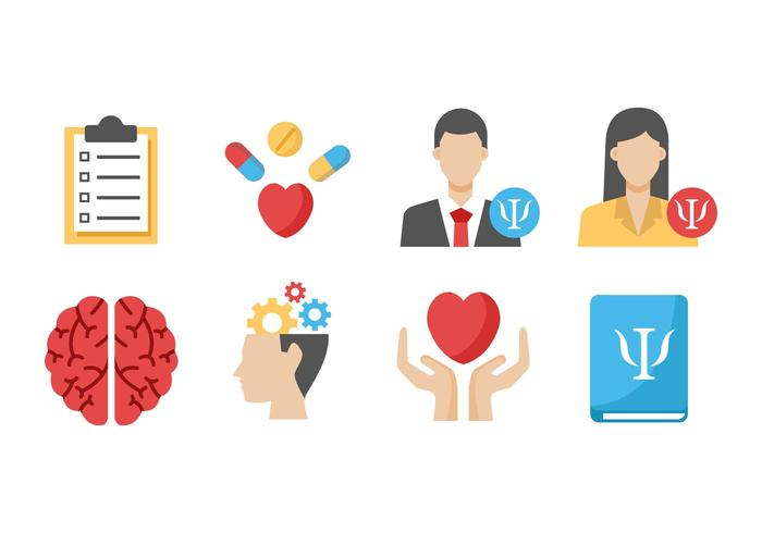 vetor de ícones de psicólogos grátis