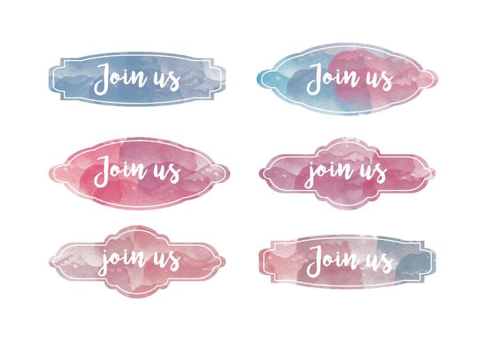 Vector Set of Watercolor Join Us Tags