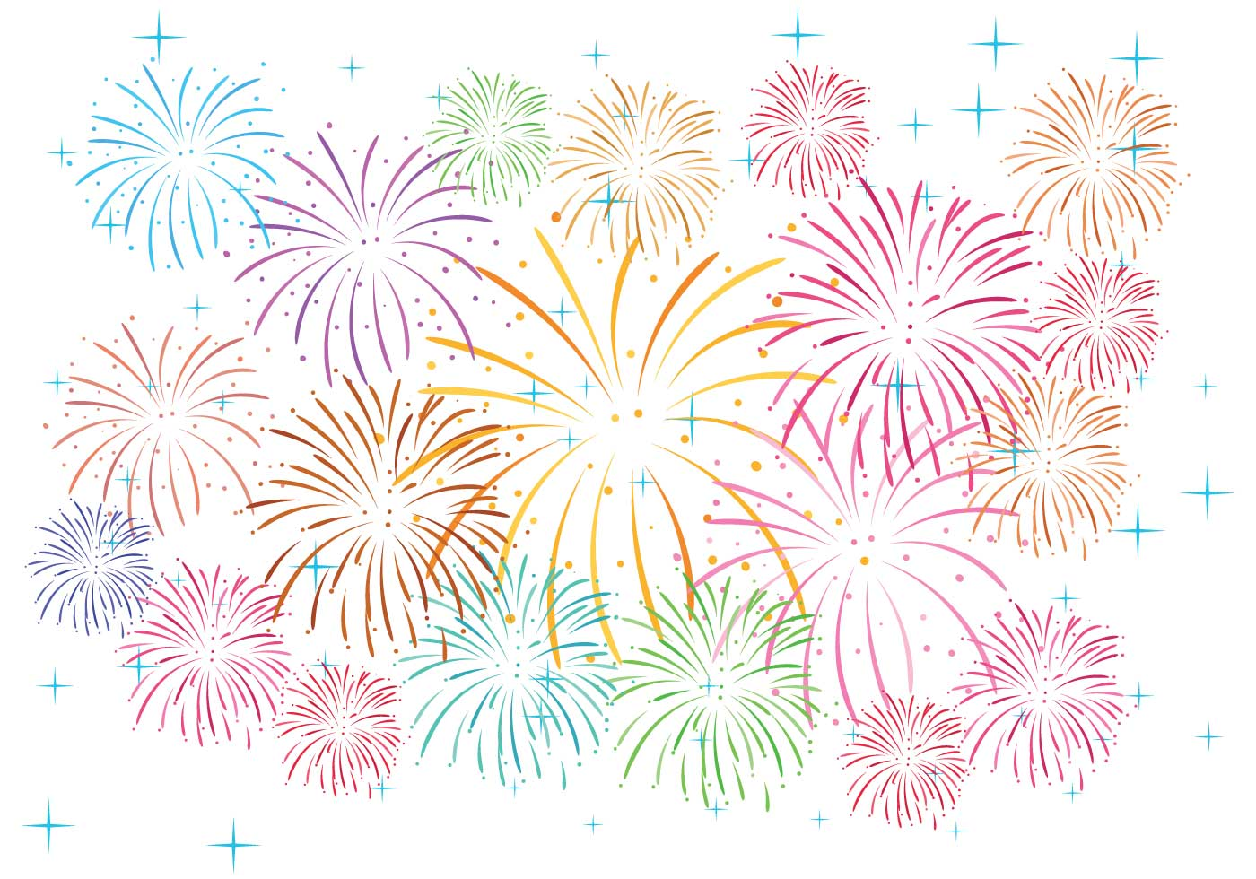 Fireworks on White Background Vector - Download Free ...