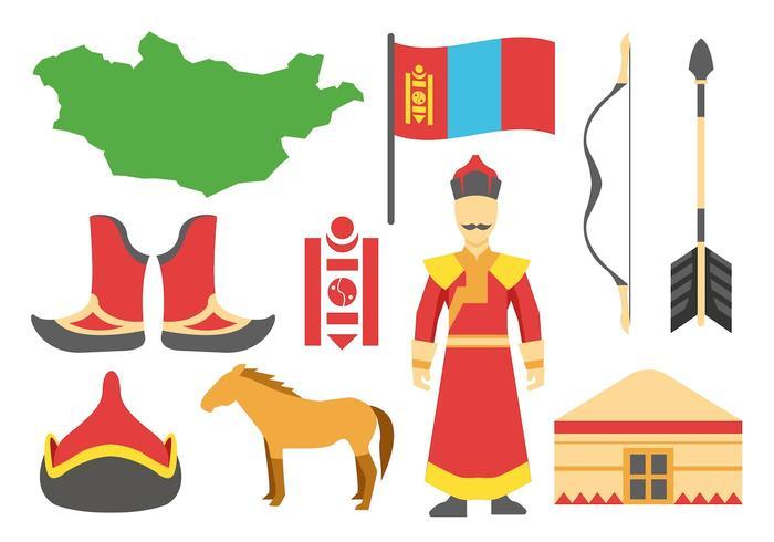 Icone mongole vettoriali gratis