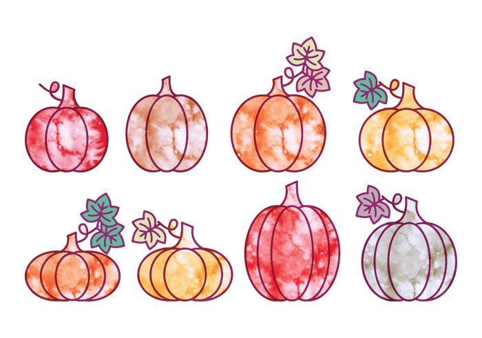 Vector Halloween Watercolor Pumpkins