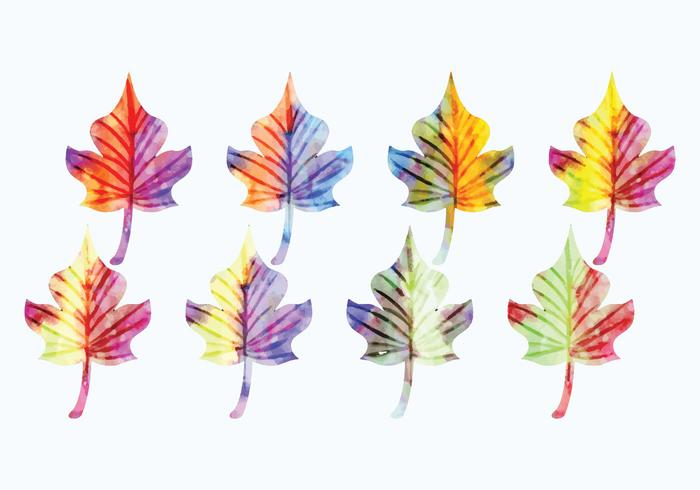 Vector Watercolor Leaves