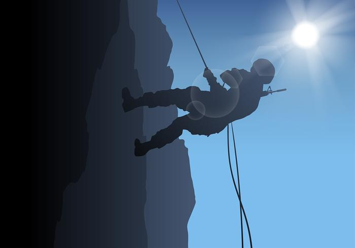 Rappelling Army Free Vector