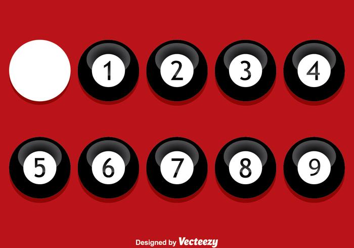 Black 9 Ball On Red Vector
