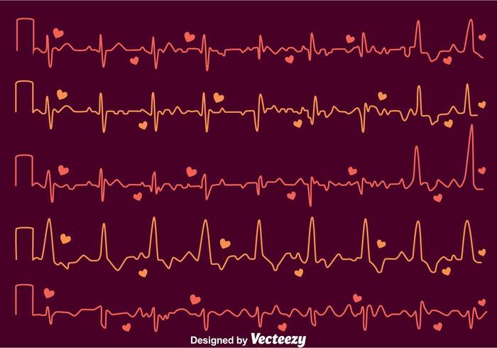 Heart Rhythm On Dark Purple Vector