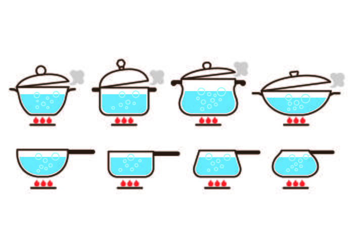 Pots with Boiling Water Icon Vectors