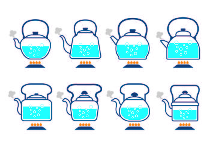 Kettles with Boiling Water Icon Vectors