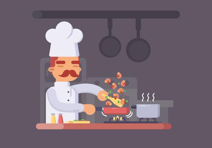 Kock Matlagning räkor i en kruka Vector