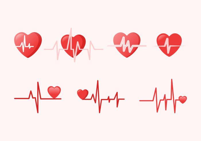 Ritmo cardíaco paquete de vectores gratis
