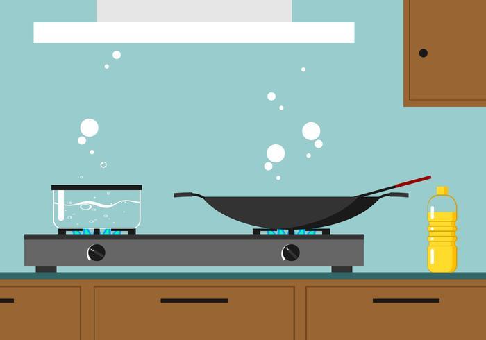 Kokande Vatten I Köket Gratis Vektor