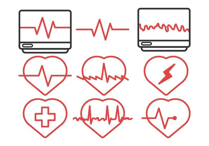 Heart Rhythm Icon Pack Vector