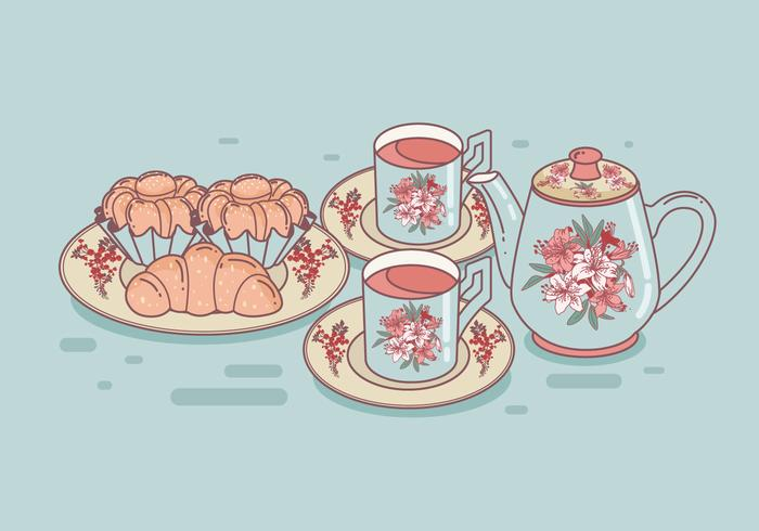 Set of Tea Cups and Brioche Vector