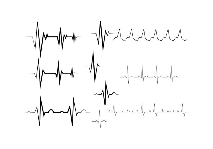 Gratis Heart Rhythm Collection Line Vector