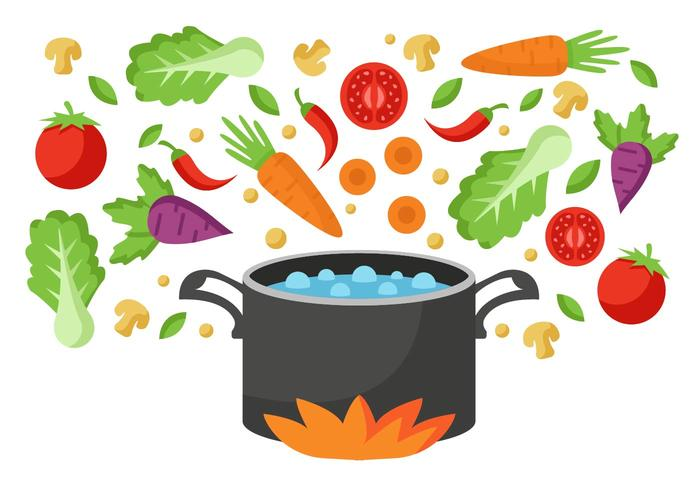 Vegetable Going into Boiling Water Pan Vector