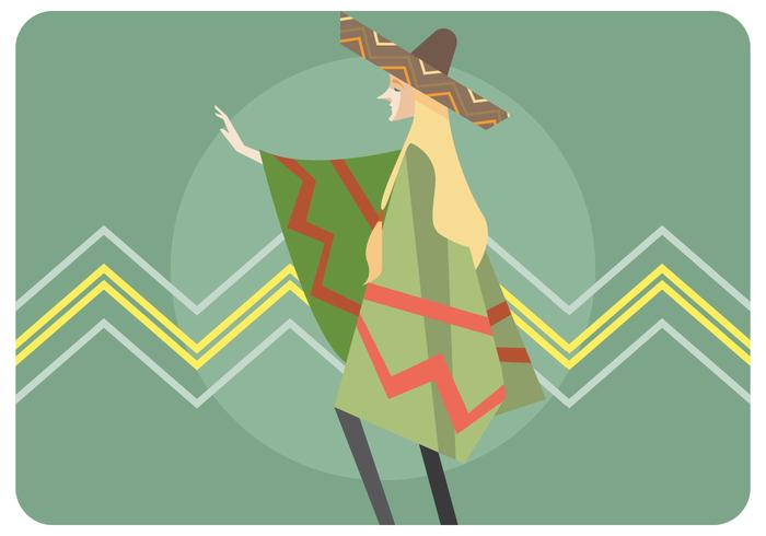 Girl Wearing Sombrero and Poncho Vector