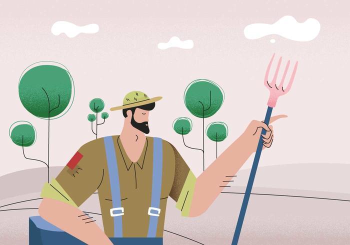 Peasant Character Vector Illustration