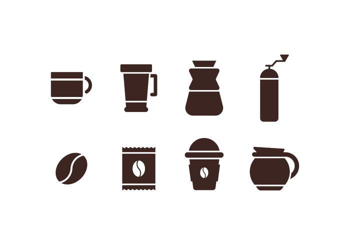 Coffee maker set icons