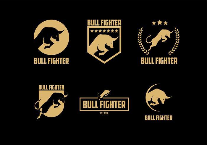 Bull Fighter Gold Logo kostenloser Vektor