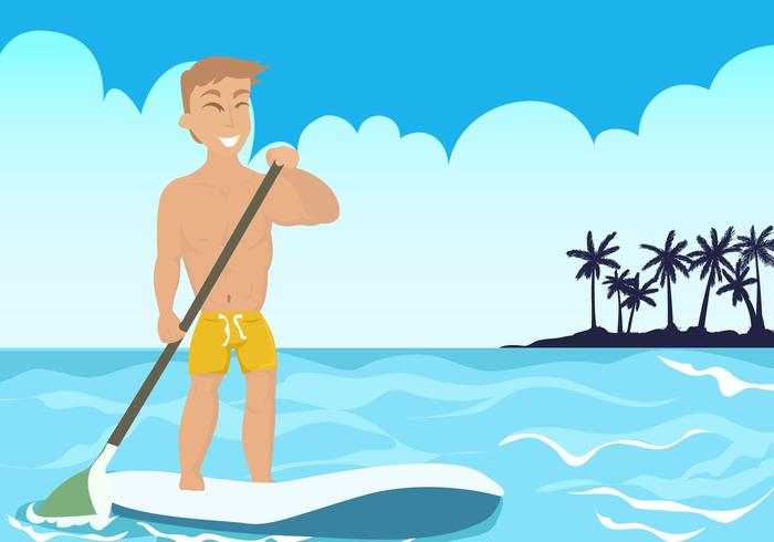Man on Paddleboard at the Beach Vector