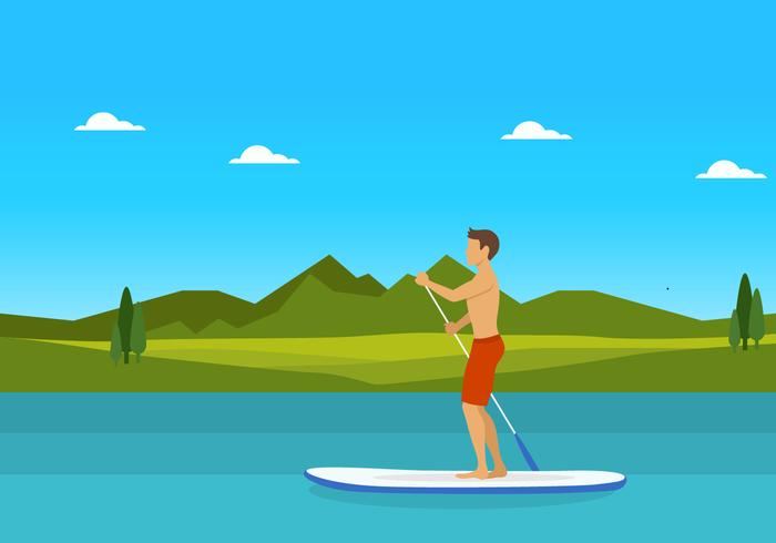 Man on Paddleboard Vector