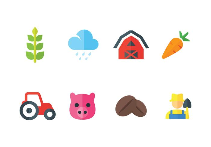 Peasant and farming vector icons set