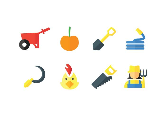 Peasant vector icons set