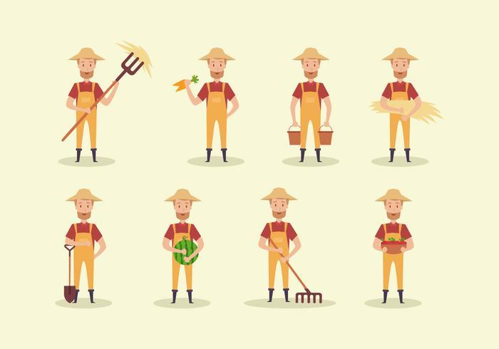 Cute Cartoon Peasant Vector