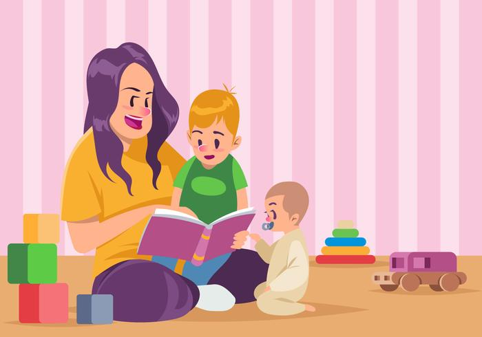 Nanny und Kinder lesen ein Buch zusammen Vektor