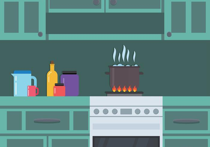 Boiling Water in Kitchen Free Vector