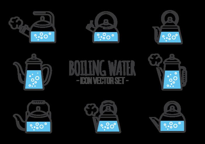 Vecteur d'icônes d'eau bouillante