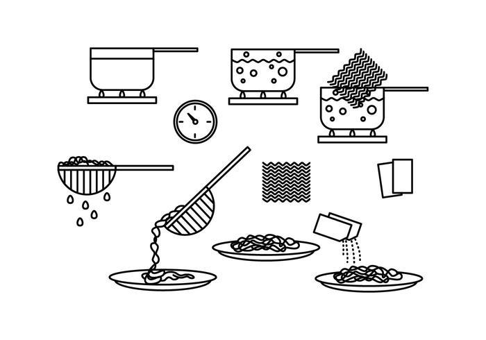 Cociner des vecteurs instantanés d'icônes de nouilles