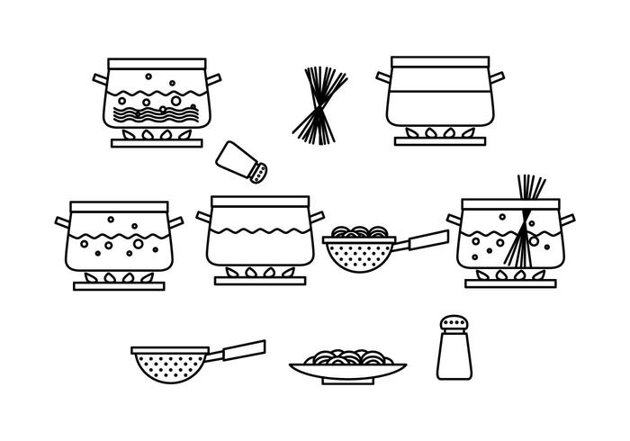 Free Cooking Pasta Process Vector