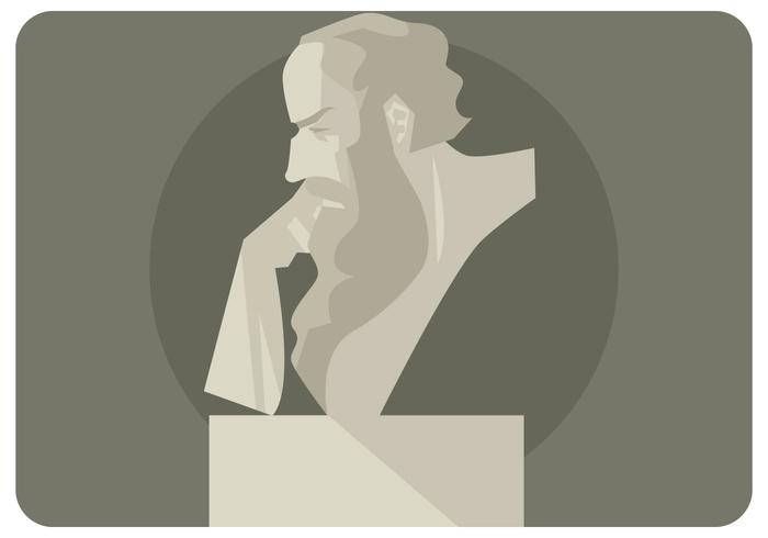 socrate head sculpture vector