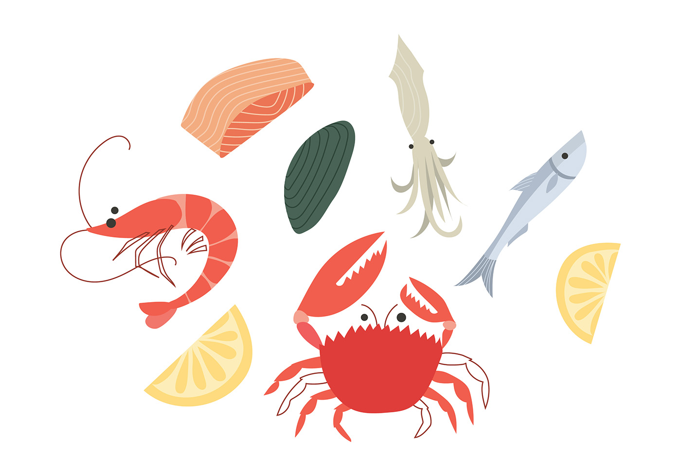 seafood cartoon free vector download free vector art sea shell clipart images sea shell clip art shape