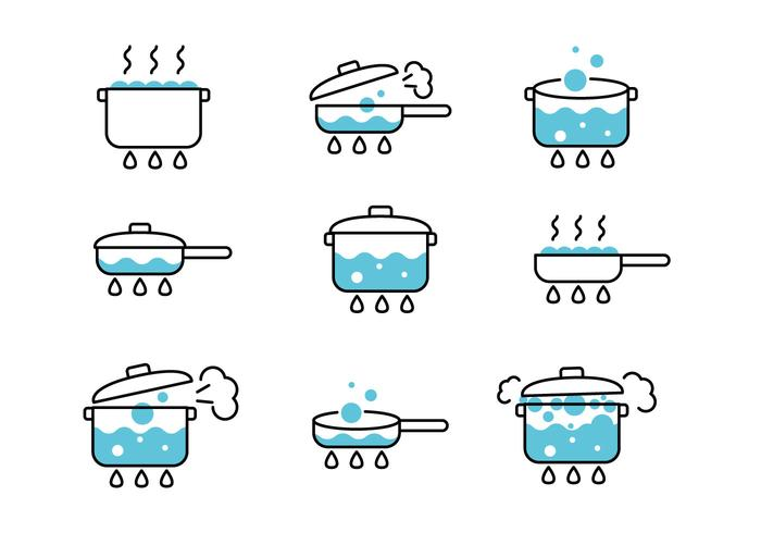 Kochende Wasser Icons vektor