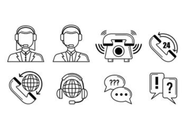 Set Of Call Centre Icons vector