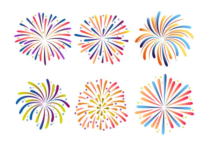Colorful Fireworks Collection Vector Illustration