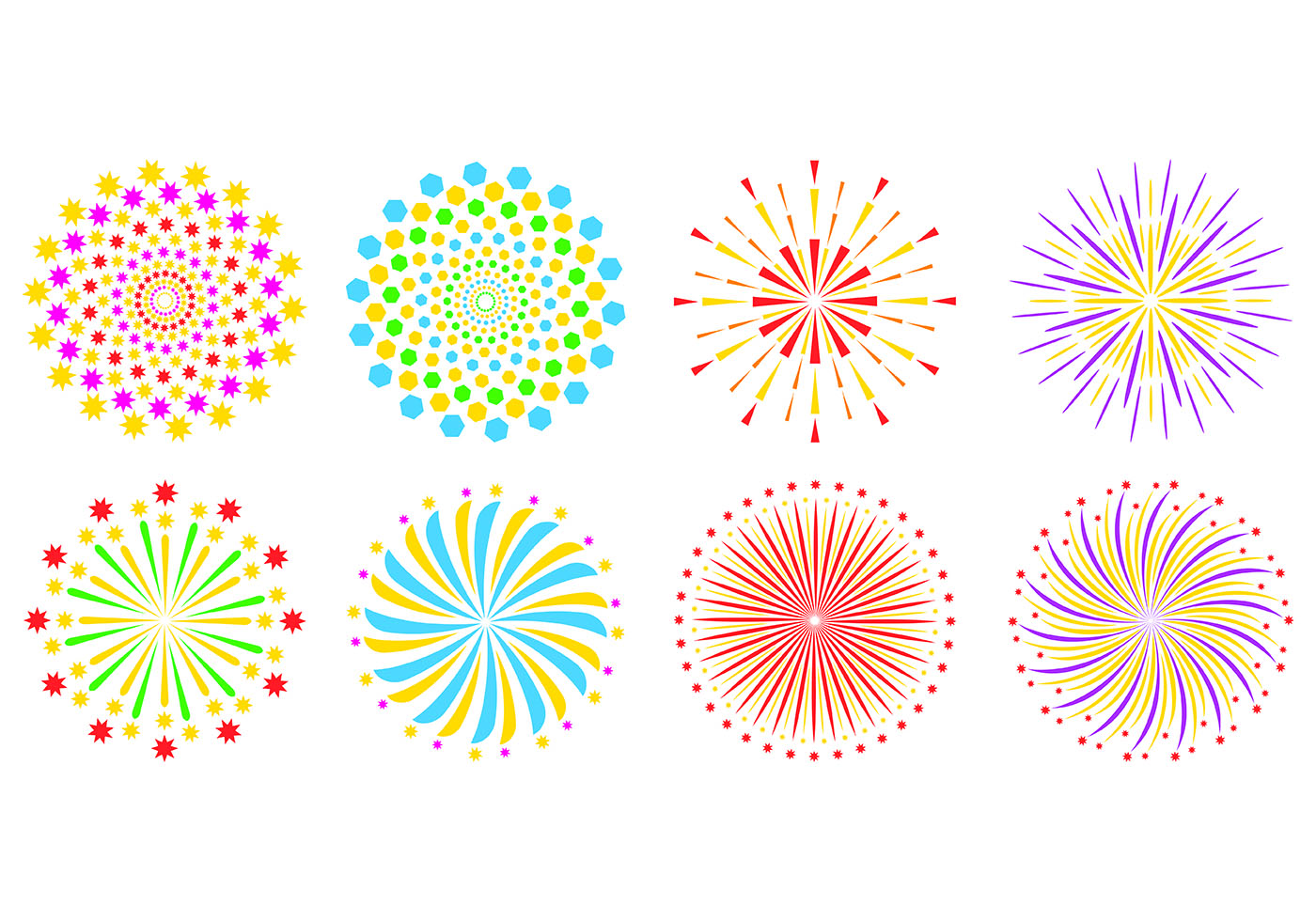 Set Of Fireworks In White Background - Download Free ...
