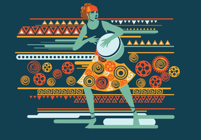Exotic Woman Playing Djembe Vector
