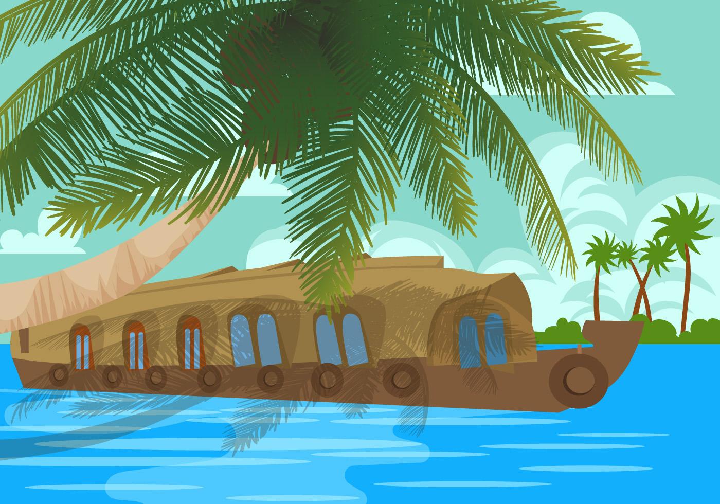 Kerala Backwaters Houseboat Vector - Download Free Vector Art Stock Graphics U0026 Images