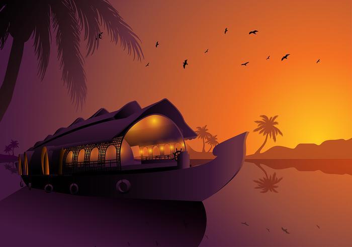 Alappuzha Houseboats Kerala Silhouette Gratis Vector