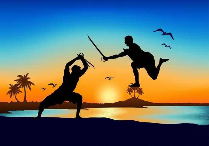 Kerala Sword Fight Beach Vecteur gratuit