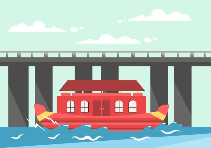 Kerala Boat House Vector
