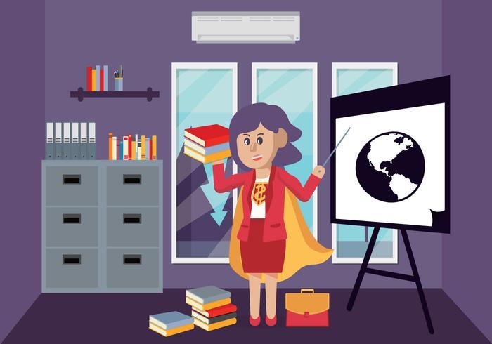 Teacher Super Heroes Character Vector Illustration