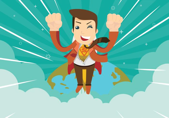 Super Man Hero Flying To Help People Illustration Vectorisée