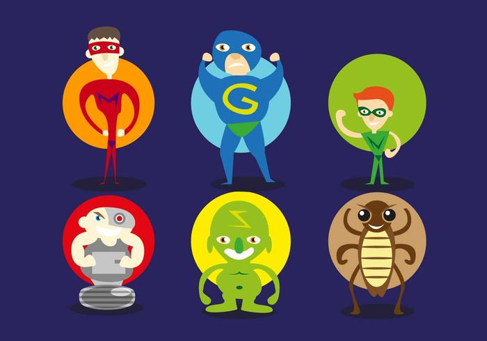 Super Heroes Villains Illustrations Vector