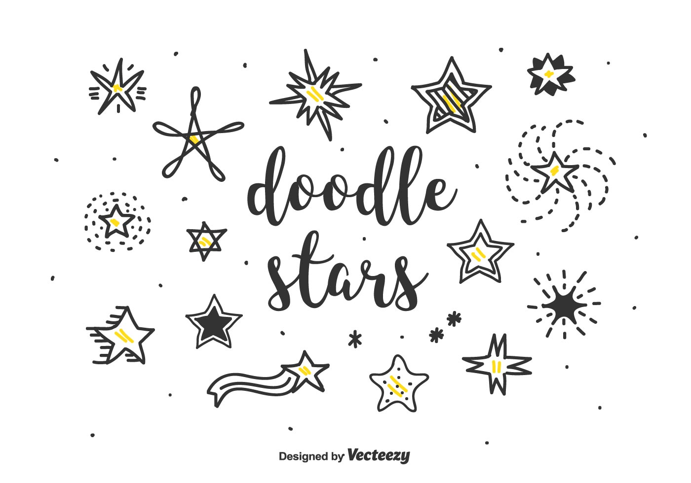 Doodle Stars Vector Set - Download Free Vectors, Clipart ...