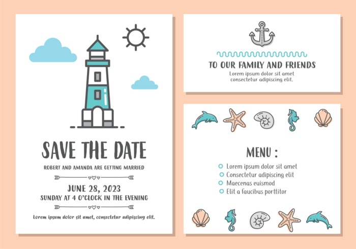 Beach Wedding Invitation Card Template Download Free Vector Art