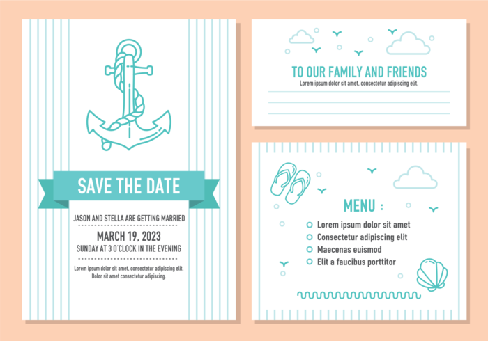 Beach Wedding Invitation Card Vector