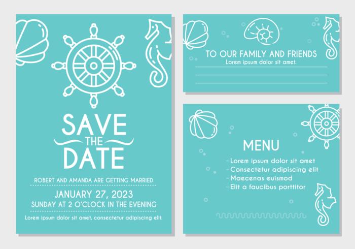 Strandbröllopinbjudningskort